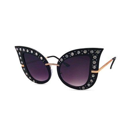 Oversized Cat Eye Rhinestone Sunglasses (Best Sunglasses For Very Sensitive Eyes)