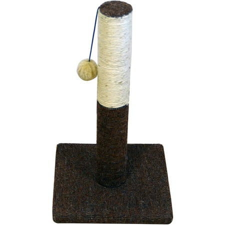 Iconic Pet Kitty Scratch Sisal Cat Scratching Post with Plush Toy, Brown