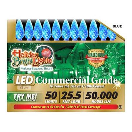 Holiday Bright Lights LEDBX-C650-BL Christmas LED Light Set, C6, Commercial-Grade, Blue, 50-Ct.