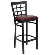 Flash Furniture HERCULES Series Black Window Back Metal Restaurant Barstool -Wood Seat Multiple Colors