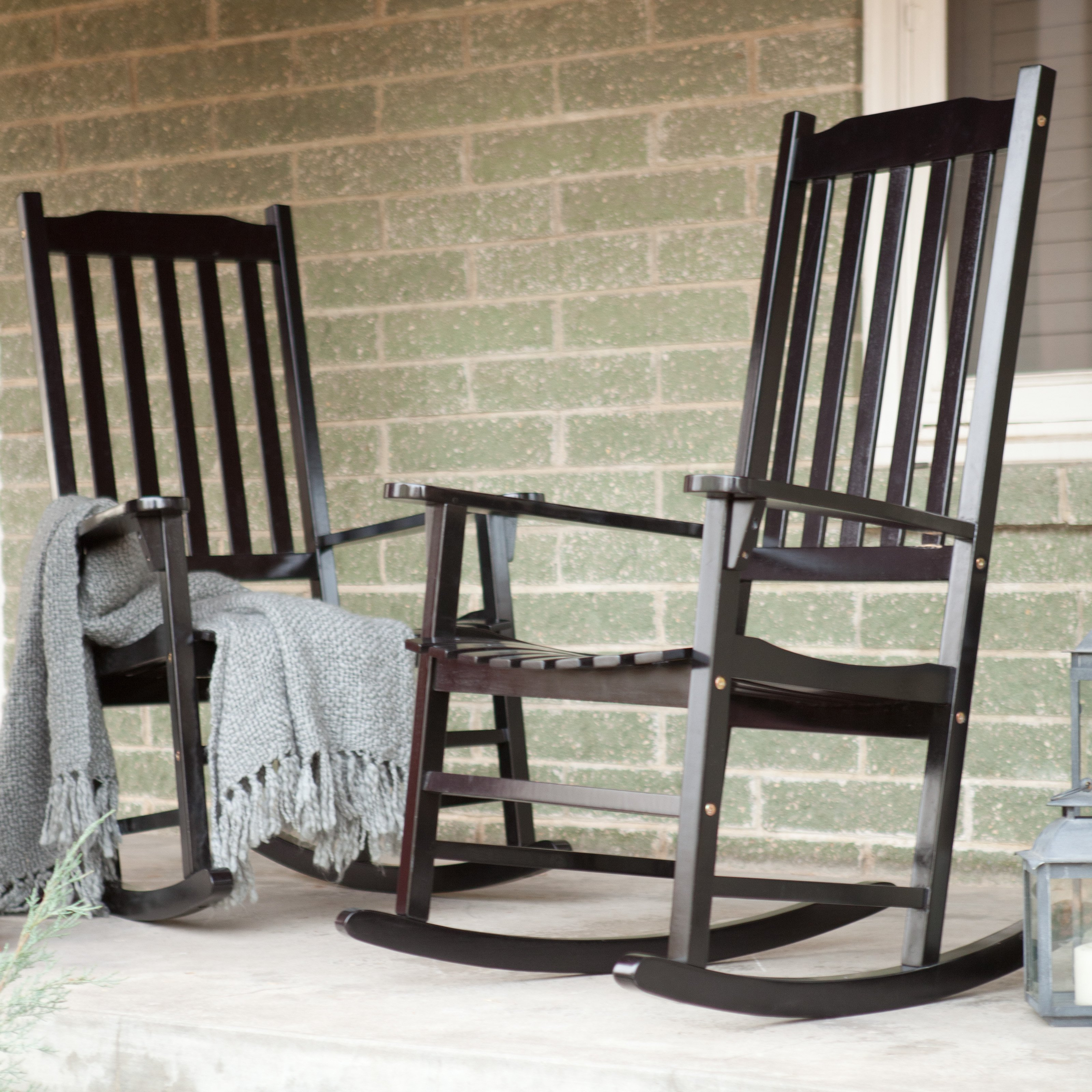 Pair Of Coral Coast Indoor/Outdoor Mission Slat Rocking Chair - Black