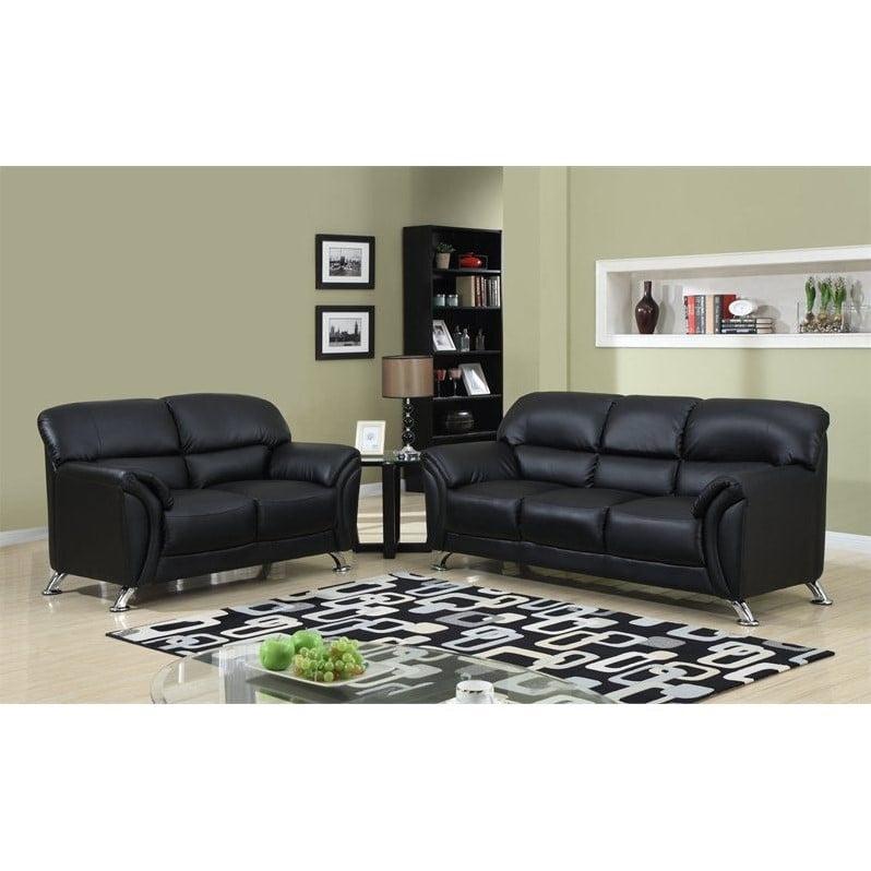 Global Furniture Usa 2 Piece Faux Leather Sofa Set in Bla...