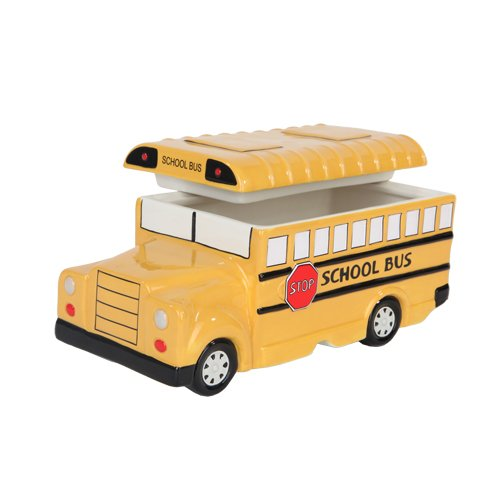 9.75 Inch Yellow School Bus Ceramic Cookie Jar Statue Figurine by PTC