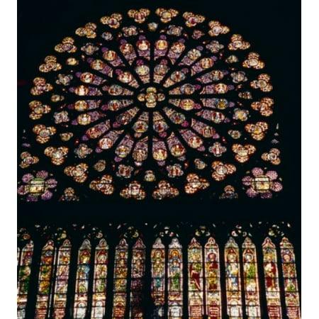 France Paris Notre Dame de Paris west window stained glass Poster Print