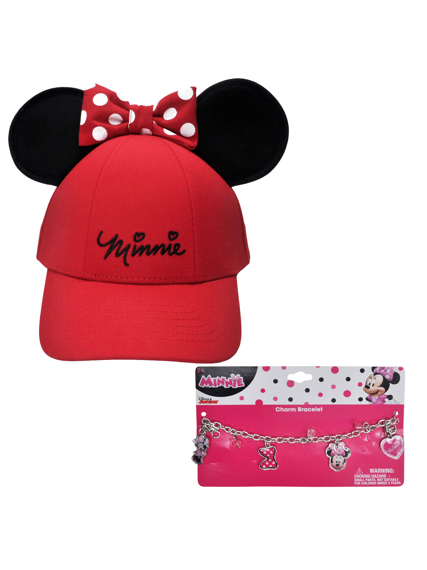 133a5cf2 Disney - Girls Minnie Mouse Red Hat with Ears & Charm Bracelet - Walmart.com