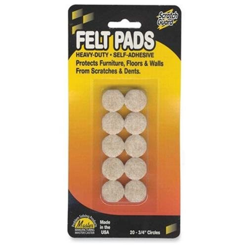 "Master Scratch Guard 88493 Heavy Duty Felt Pads - 20 Pad Of 0.75"" Diameter - Circle - Self-adhesive - Beige - Polyester - 20/pack (MAS88493)"