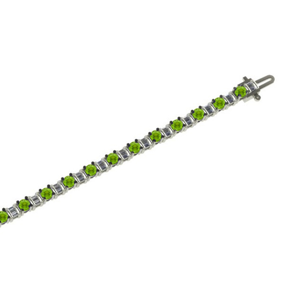 Alternating 1 ct Baguette Cut Diamond and (Peridot, Garnet, Blue or SmokyTopaz) Bracelet in Silver by Katarina