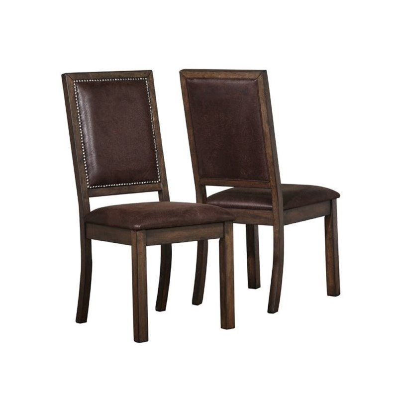 Bowery Hill Rustic Solid Wood Dining Chair in Wire Brushed Cocoa (set of 2) by Bowery Hill