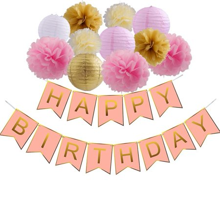 Happy Birthday Decorations Pink And Gold Banner With Paper Flowers