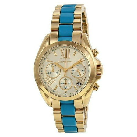 Michael Kors MK5908 Mini Bradshaw Gold and Blue Accents Wrist Watch for - Gold Accent Watch