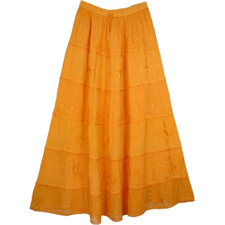Maxi Orange Tiered Skirt with Embroidery