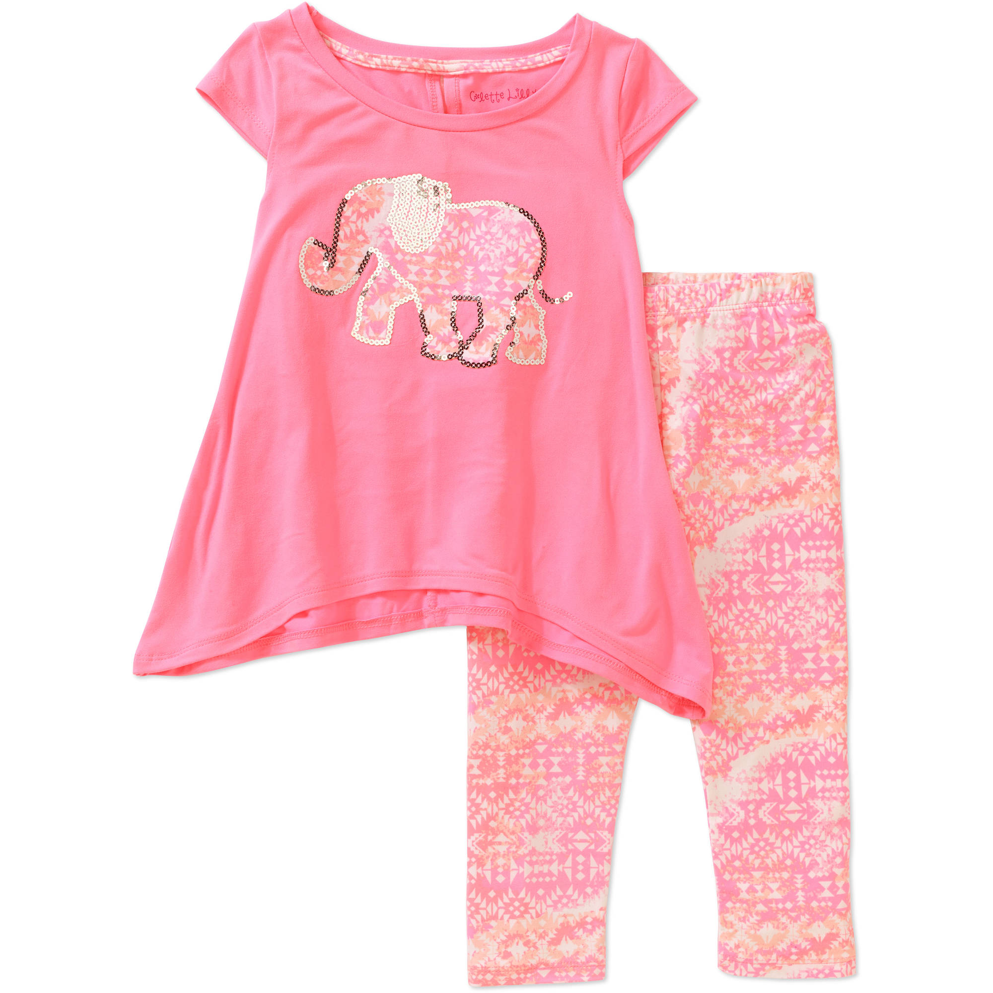 Colette Lilly Little Girls' Bab N Sequin Applique Top and Printed Leggings Set