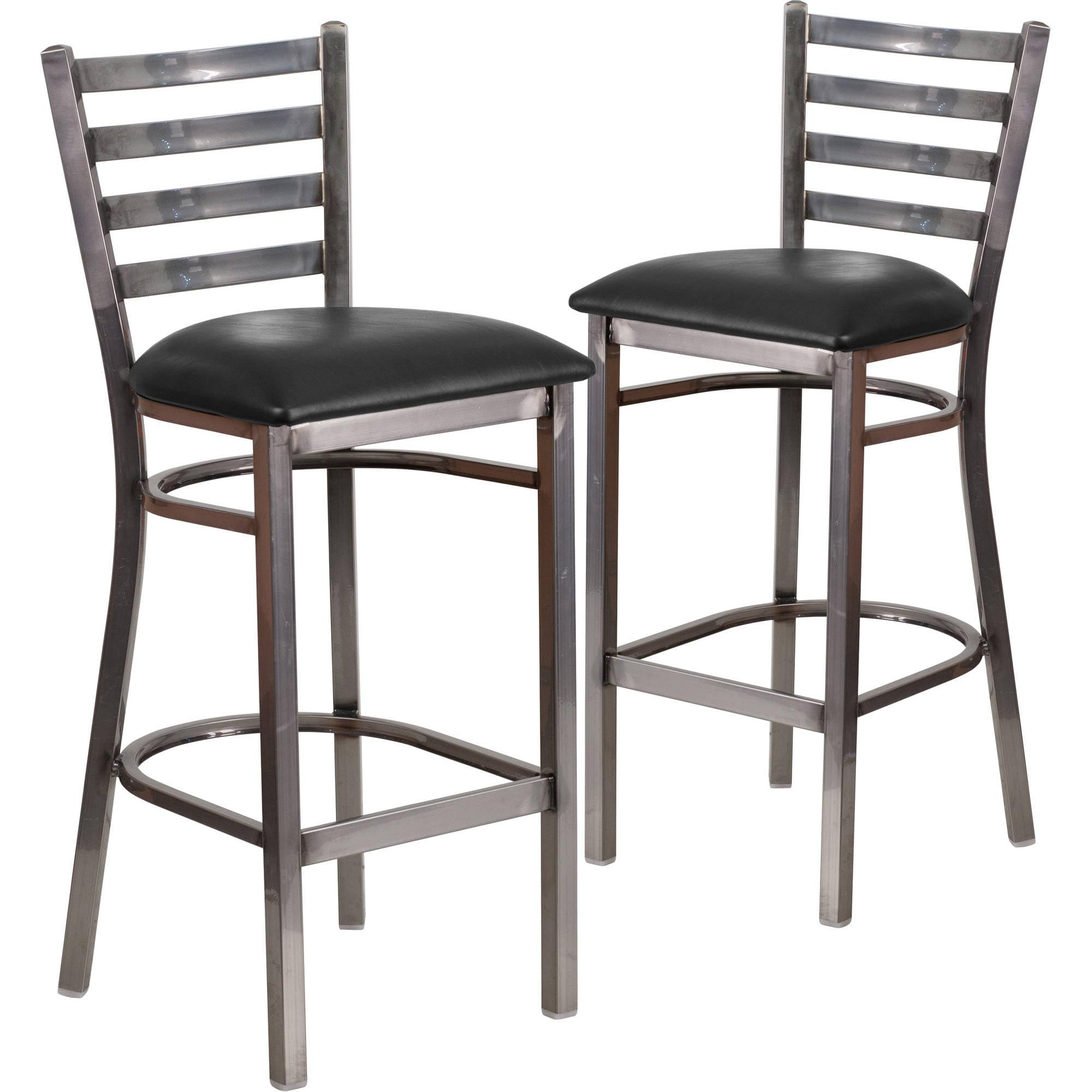 Flash Furniture 2pk HERCULES Series Clear Coated Ladder Back Metal Restaurant Barstool, Vinyl Seat, Multiple Colors