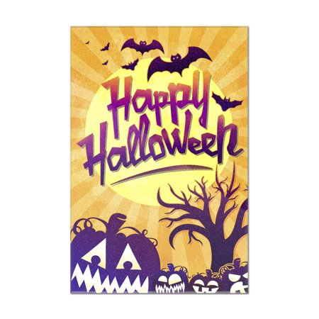 Happy Halloween - Bats & Pumpkins - Lantern Press Artwork (8x12 Acrylic Wall Sign) - Happy Halloween Artwork