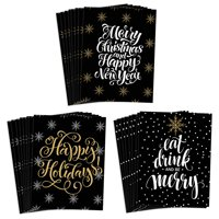 Festive 24 Pack Christmas Cards with Envelopes 3 Assorted Silver & Gold Elegant Seasonal Designs to Send Warm Holiday Wishes to Family Friends & Coworkers 24 Mixed Boxed Set by Digibuddha VHA0036B
