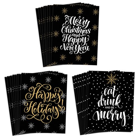 Festive 24 Pack Christmas Cards with Envelopes 3 Assorted Silver & Gold Elegant Seasonal Designs to Send Warm Holiday Wishes to Family Friends & Coworkers 24 Mixed Boxed Set by Digibuddha VHA0036B ()