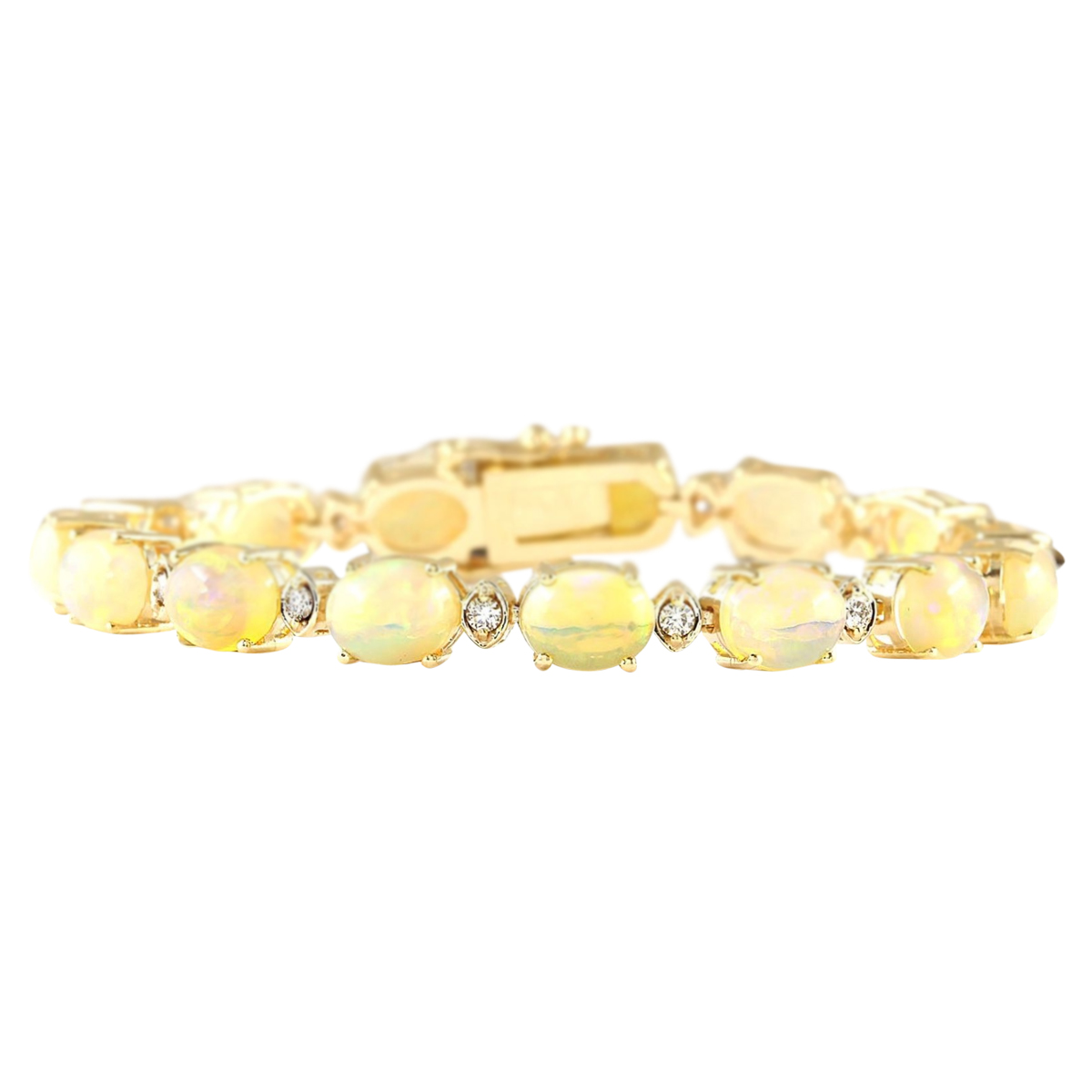 17.91 CTW Natural Opal And Diamond Bracelet In 14k Yellow Gold by