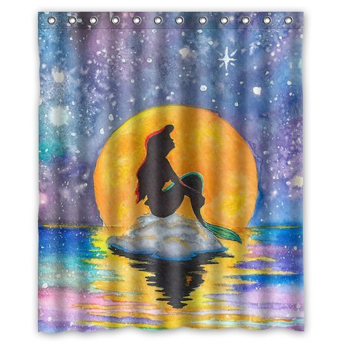 DEYOU The Little Mermaid Galaxy Shower Curtain Polyester Fabric Bathroom Shower Curtain Size 66x72 inches