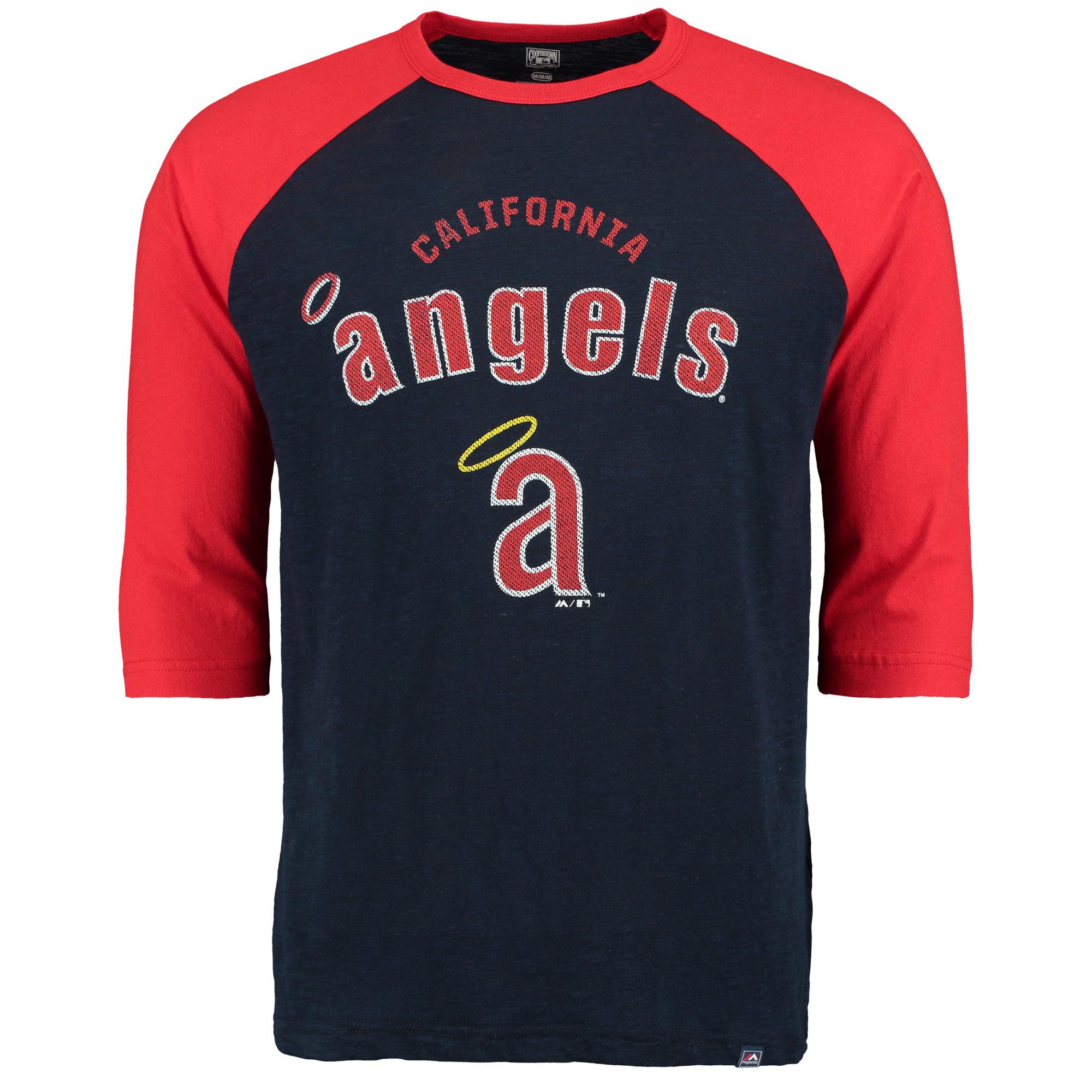 California Angels Majestic Don't Judge Cooperstown Three-Quarter Sleeve Raglan T-Shirt - Navy/Red