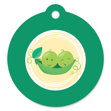 Double the Fun - Twins Two Peas in a Pod - Baby Shower or First Birthday Party Favor Gift Tags (Set of 20)