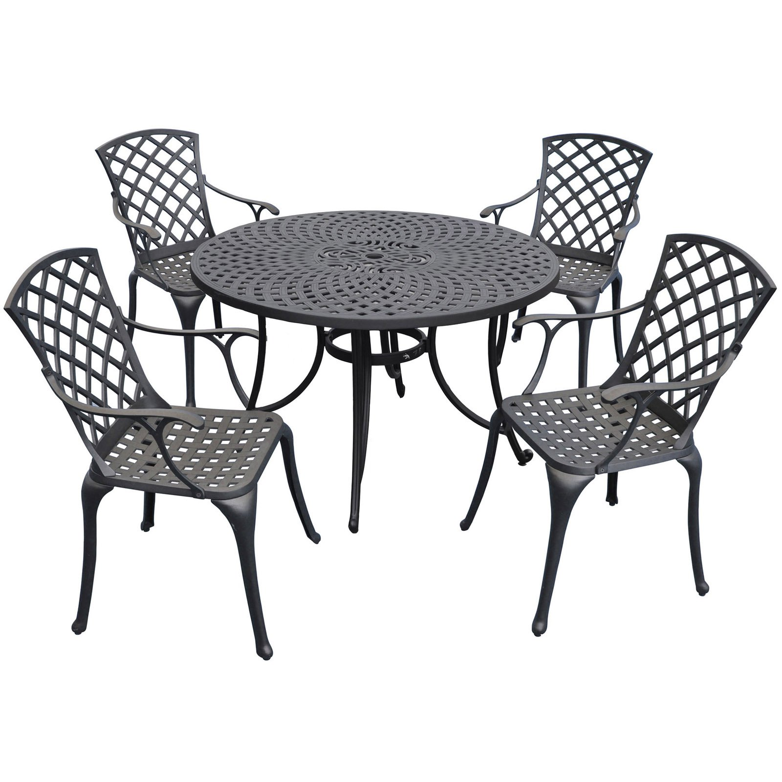 5 Piece Cast Aluminum Outdoor Dining Set With High Back Arm