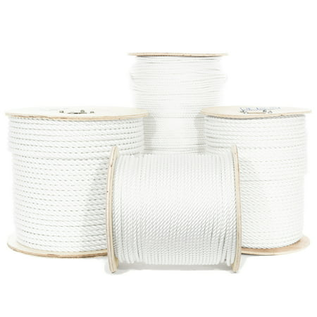 GOLBERG Twisted Polyester Rope - White - Low Stretch, High Strength - Moisture, UV, Rot, Oil and Chemical Resistant - Rigging, Winch, String Line, Pull & Truck Rope, Crafts