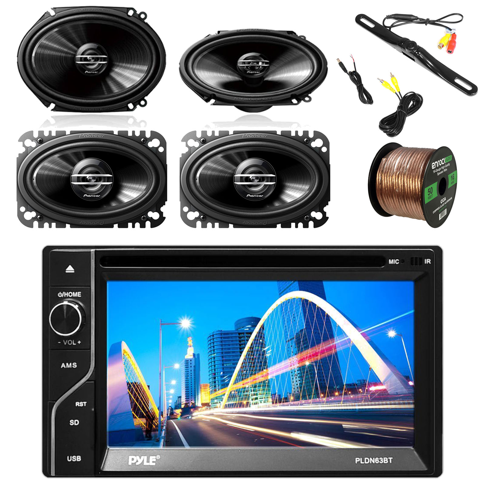 """Pyle 6.5'' 2-DIN Touch Screen BT Receiver w/Pyle License Plate Mount Rear View Color Camera, Pioneer 250W 6x8"""" 2-Way Speakers(Pair), Pioneer 4x6"""" 2-Way 200W Car SPKR(Pair) & Enrock 16G 50' SPKR Wire"""