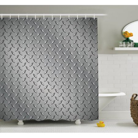 Ambesonne Cross Wire Fence Netting Display with Diamond Plate Effects Chrome Kitsch Motif Shower Curtain Set