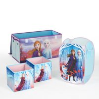 Disney Frozen 2 Kids Anna and Elsa Whole Room Solution Toy Storage Set - Walmart Exclusive (1 Trunk, 1 Hamper, 2 pack storage cubes)