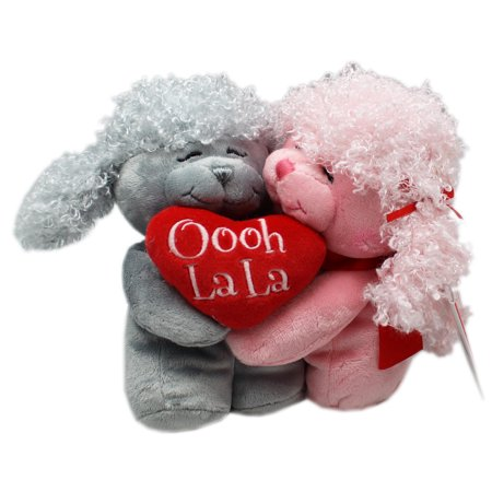 Poodle Hugs Pink/Gray Heart Hugging Poodles Plush Toy (6in) - Gray Poodle