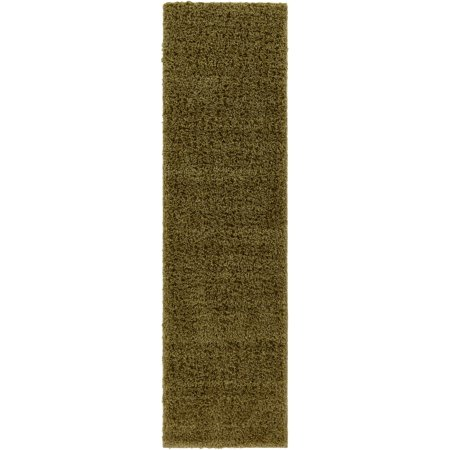 Well Woven Soft Fluffy Non-Skid/Slip Rubber Back Antibacterial Shag Rug 2x7 (2' x 7'3 Runner) Solid Color Print Pistachio Green Area Rug Carpet