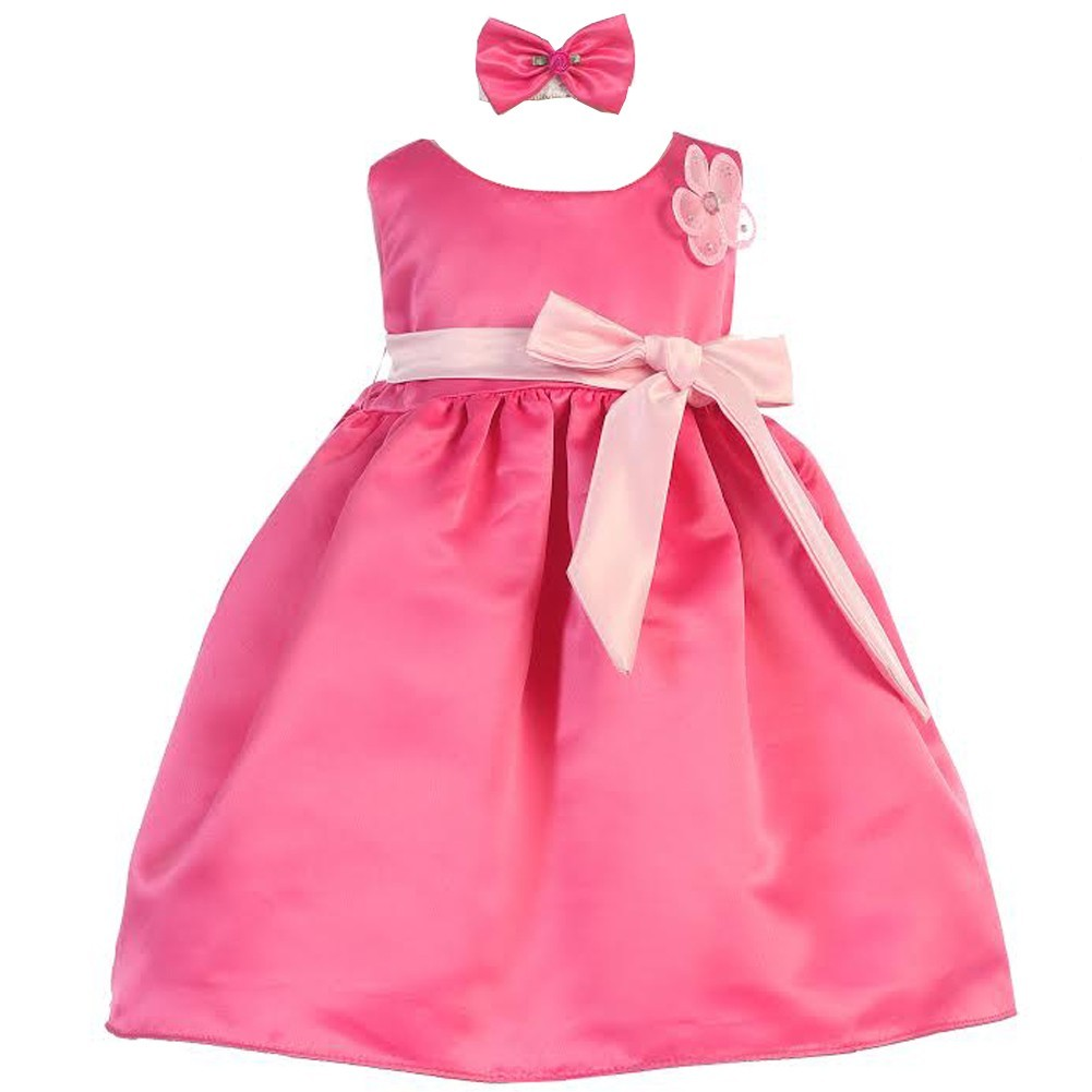 Baby Girls Fuchsia Pink Sash Dull Satin Special Occasion Headband Dress 24M