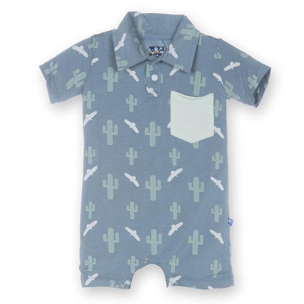 KicKee Pants Little Boys Print Short Sleeve Polo Romper with Pocket ...