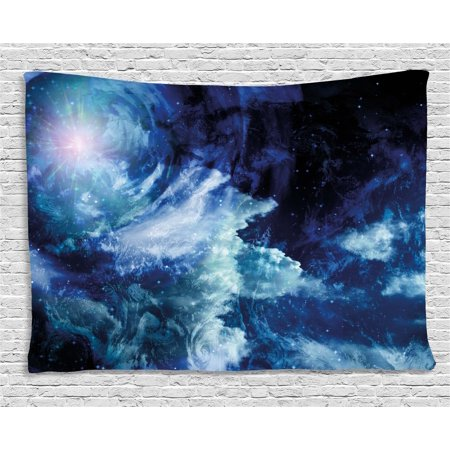 Space Tapestry, Nebula Gas Cloud on Celestial Sphere Universe Themed Infinity Design Galaxy Art Print, Wall Hanging for Bedroom Living Room Dorm Decor, 60W X 40L Inches, Dark Blue , by Ambesonne - Galaxy Theme