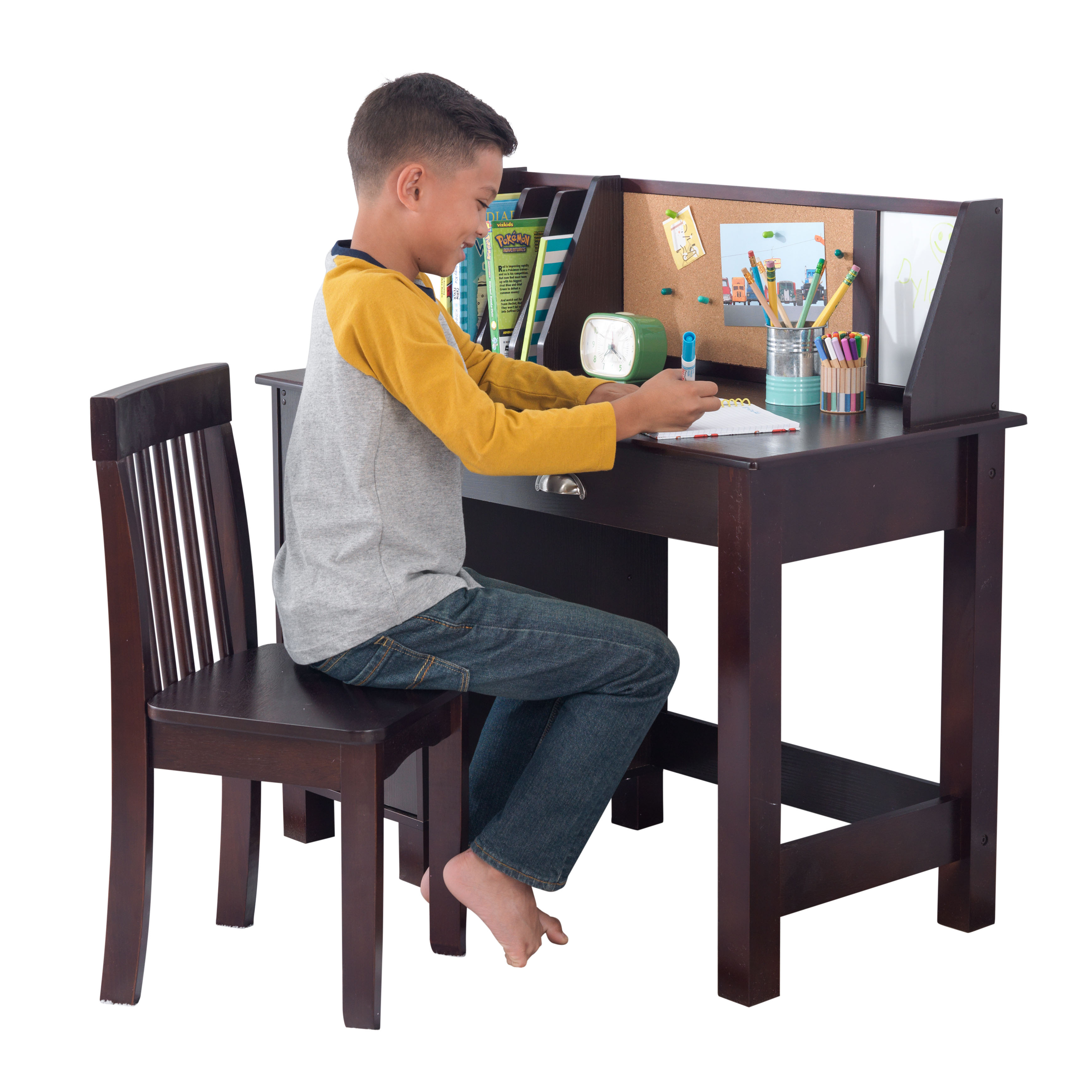 KidKraft Study Desk with Chair - Espresso