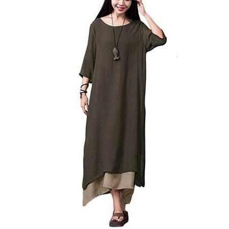 Chinese Long Dress (Women Casual Maxi Dress Vintage Chinese Style Layers Loose Boho Long Dress)
