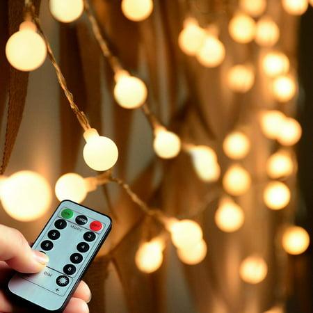 Remote Timer 100 Led Warm White Globe String Lights Outdoor 8 Modes