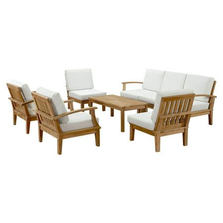 Modway Marina 8 Piece Outdoor Patio Teak Sofa Set in Natural White ()