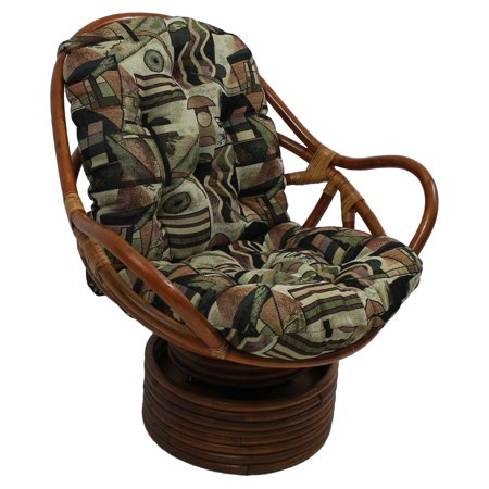 International Caravan Swivel Rocker Chair with Tapestry Cushion