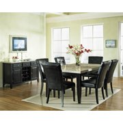 Monarch Marble Top Dining Table Set w 6 Black Vinyl Chairs