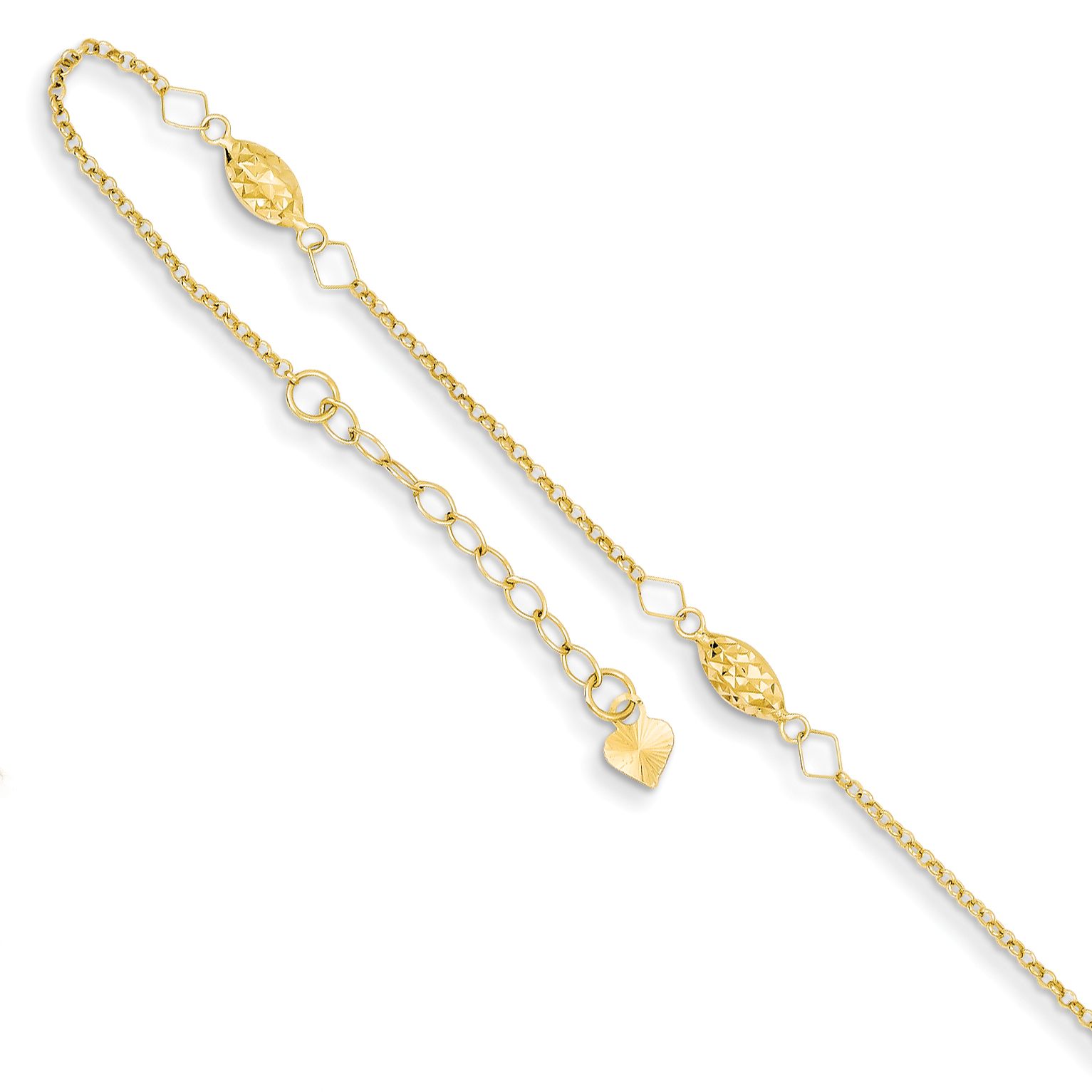 14K Whtie Gold 9in Adjustable Star Anklet w// 1inch extender