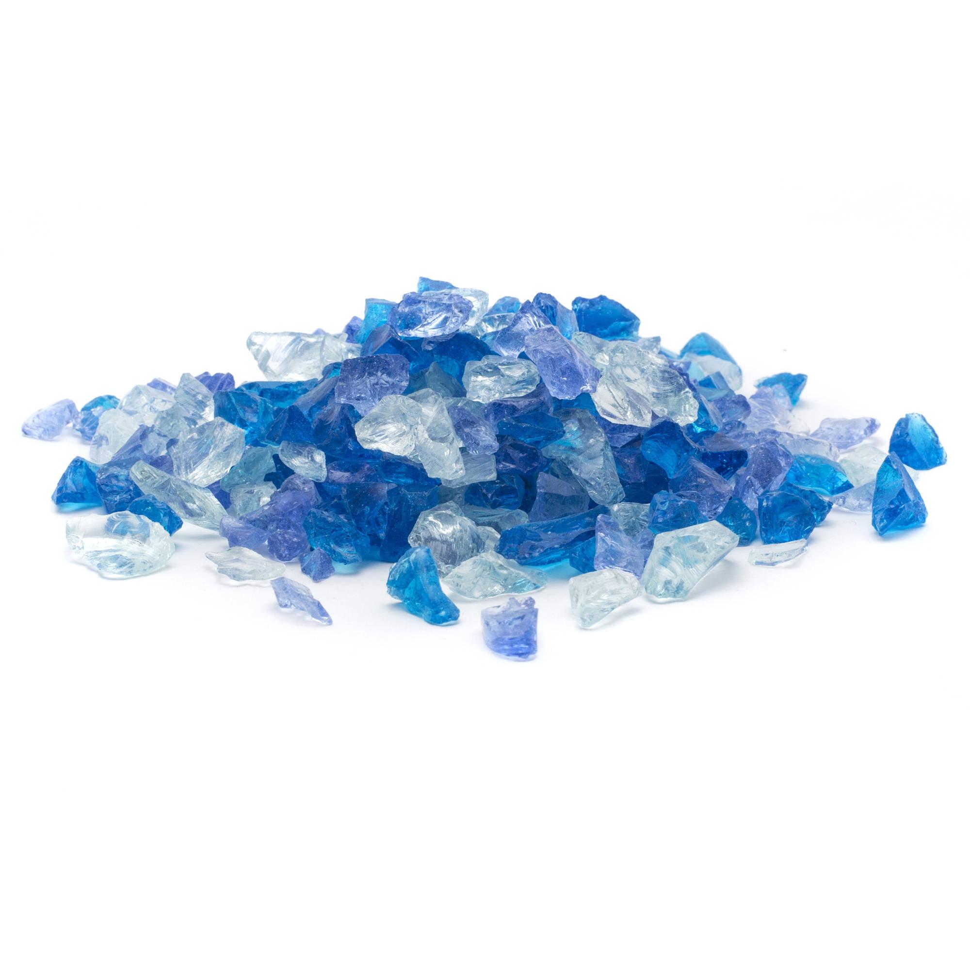 "Dragon Glass 20 lb Blue Hawaii Landscape & Fire Pit Glass, 1/4"""
