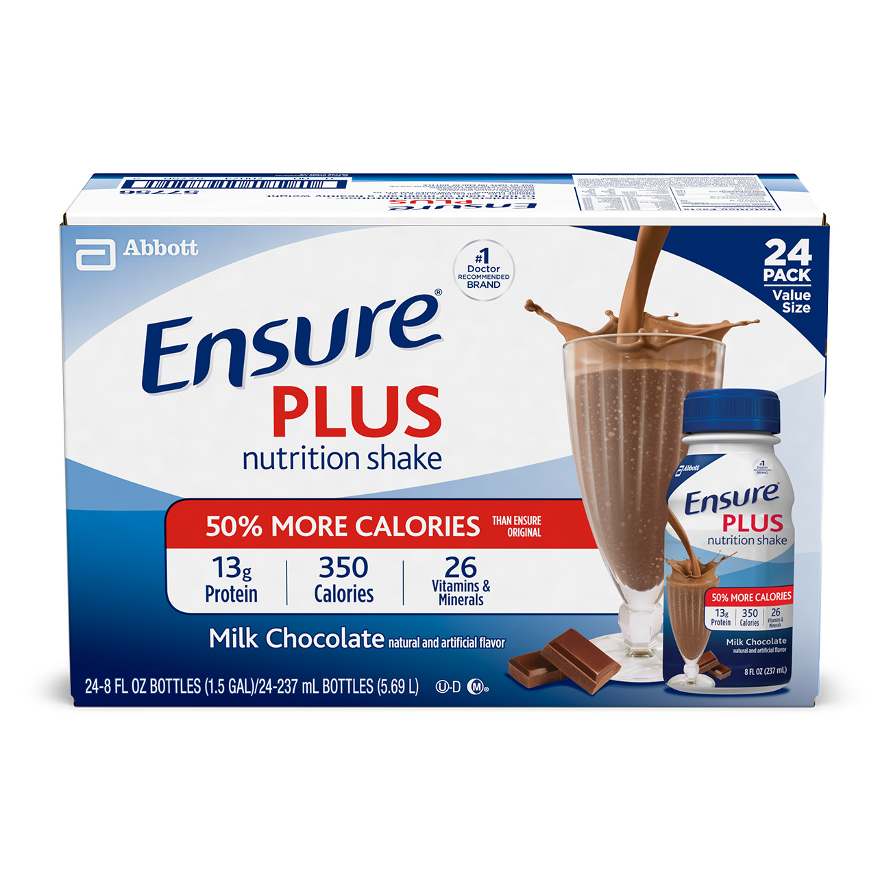 Ensure Plus Creamy Milk Chocolate Shake 8 Fl oz, 24 Ct