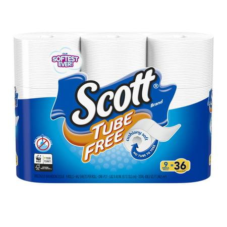 Scott Tube Free Toilet Paper, 9 Mega Rolls = 36 Regular Rolls (462 Sheets Per Roll) (Scott Mega Cartridge)