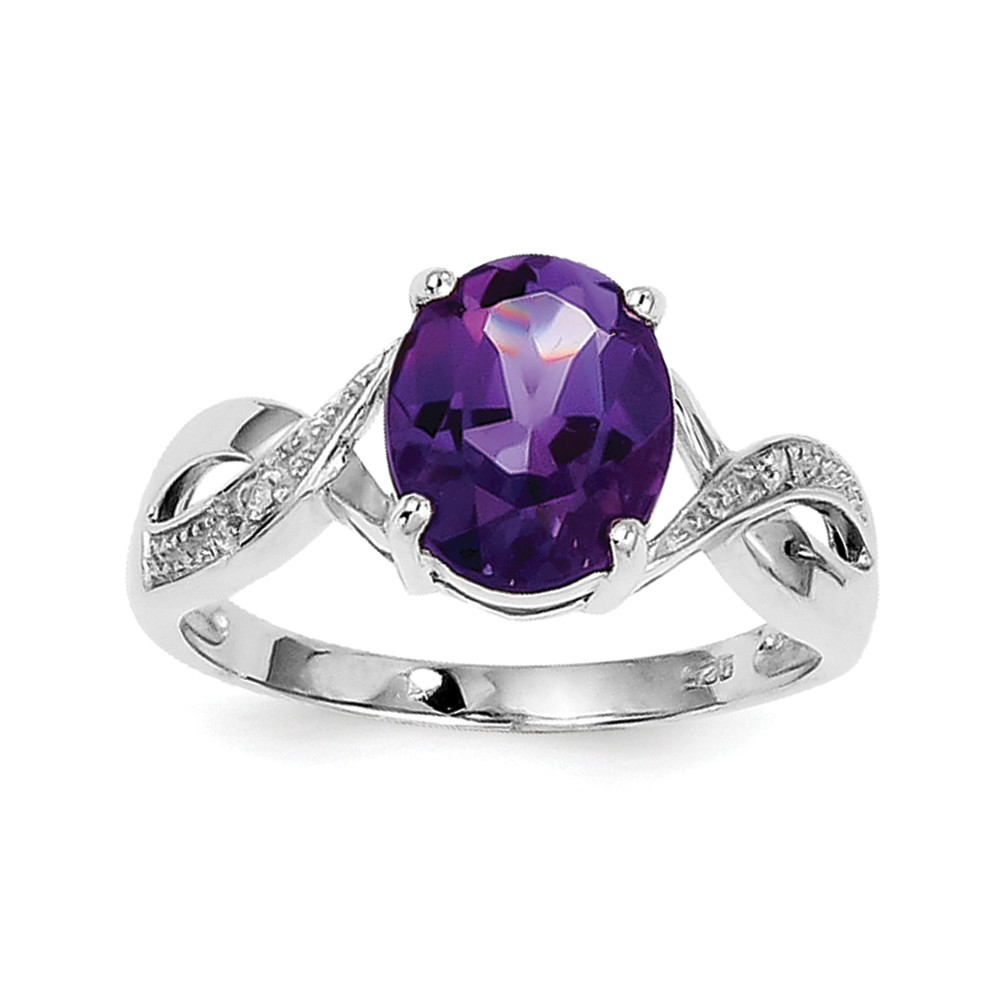 Solid 925 Sterling Silver Simulated Amethyst & Diamond Ring (2mm) Size 6 by AA Jewels