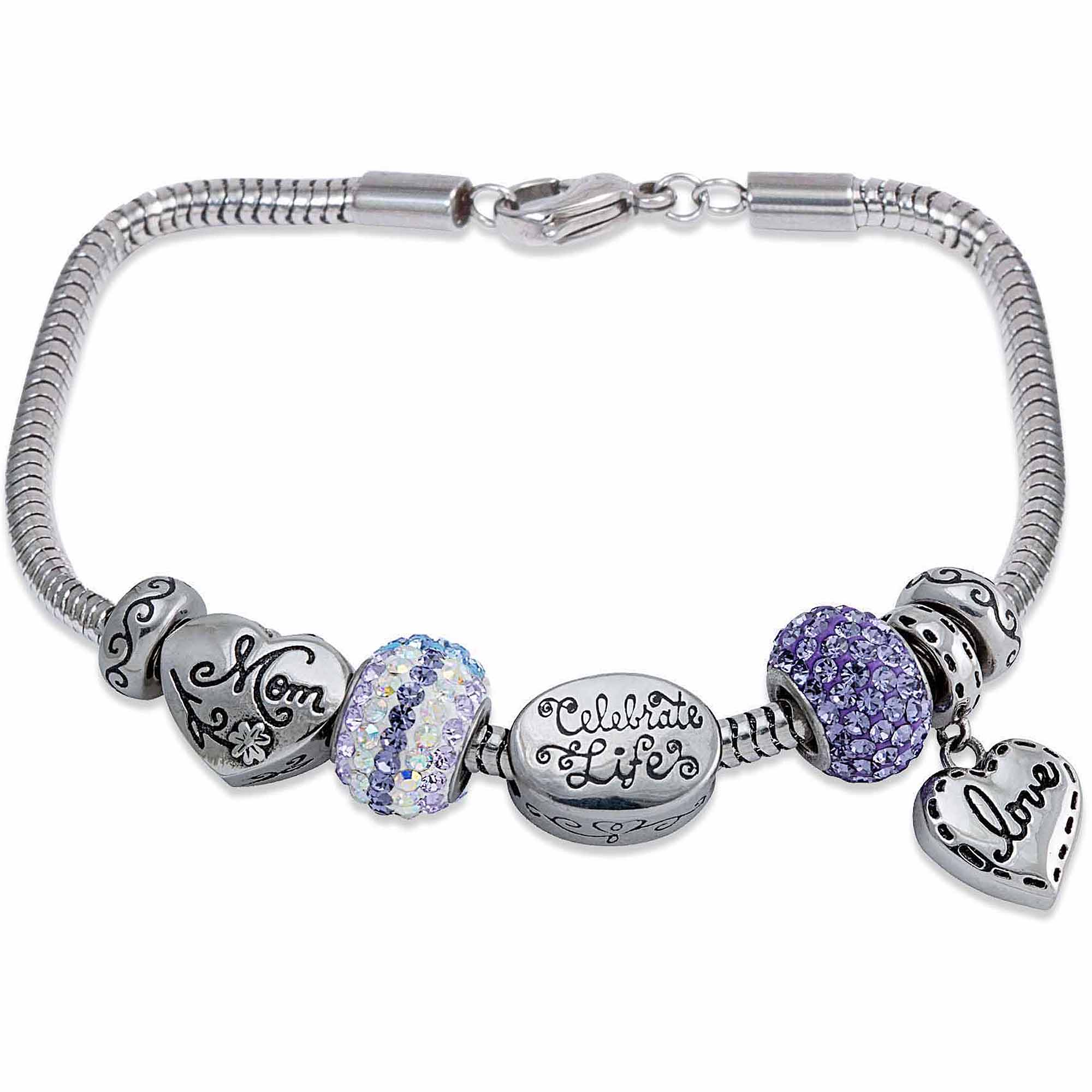 Connections from Hallmark Stainless Steel Limited Edition Mom Charm Bracelet Set