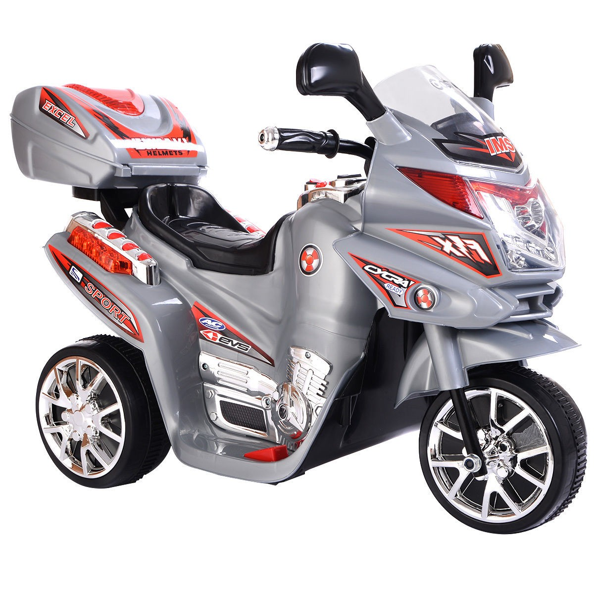 Kids Ride On Motorcycle 6V Battery Powered Electric Toy Power Bicyle New Grey by Apontus