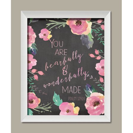 You Are Beautifully and Wonderfully Made Psalm 139:14; Religious Floral Nursery Decor; One 11x14 White Framed Print. - Hunting Nursery Decor