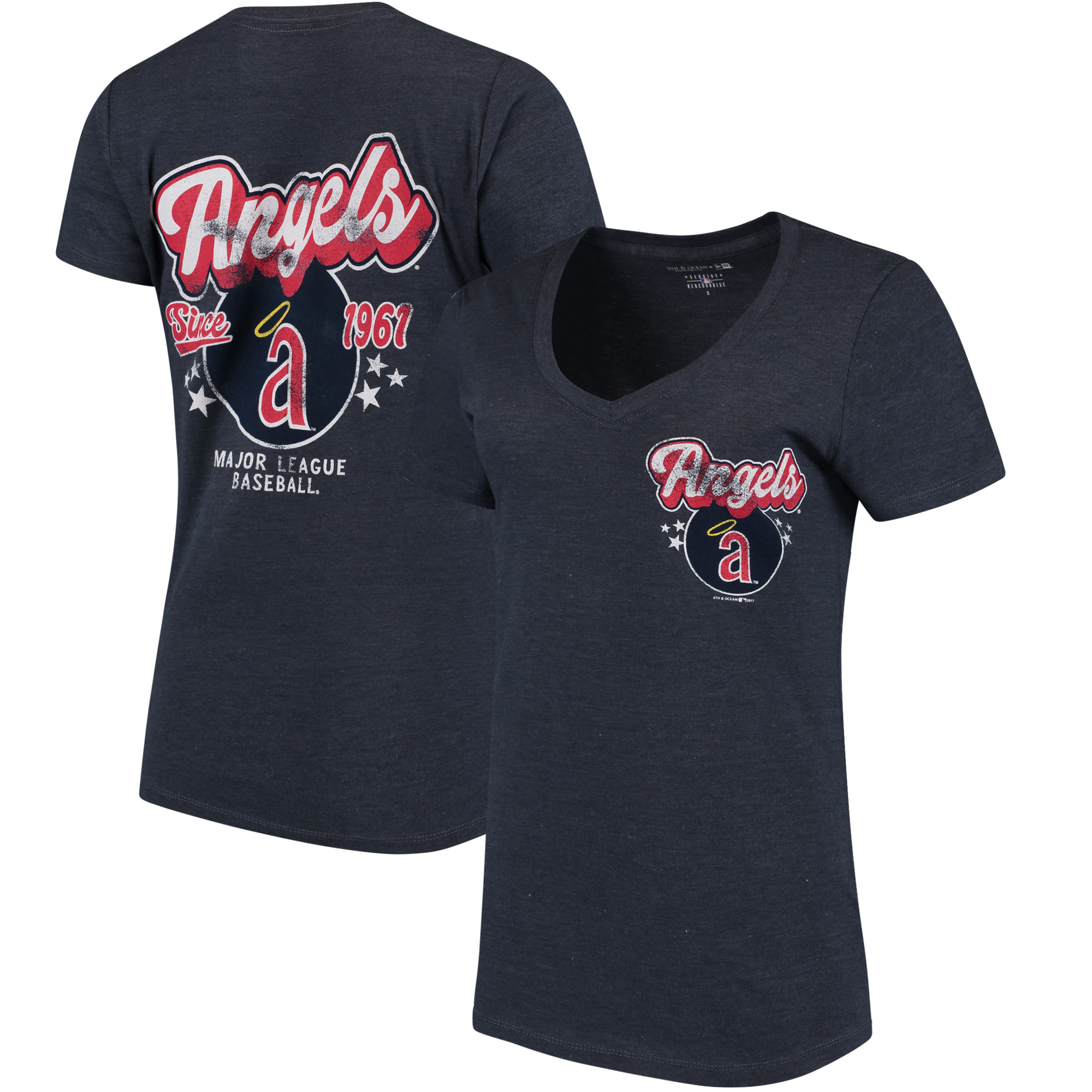 Los Angeles Angels 5th & Ocean by New Era Women's Cooperstown Collection Tri-Blend V-Neck T-Shirt - Heathered Navy