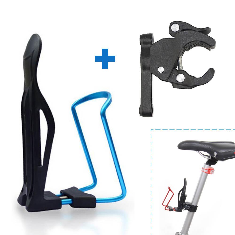 EEEKit Adjustable Aluminum Alloy Cycling Mountain Bike Road Bicycle Water Bottle Holder Cage + Handlebar Clamp Mount